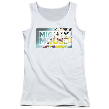 Mighty Mouse Mighty Rectangle Juniors Tank Top Shirt WHITE