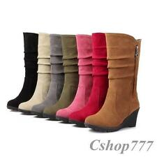 Hot Stylish Womens Boots Faux Suede Fashion High Wedges New Slouch Casual Shoes