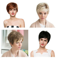Straight Women 100% Short Human Hair Wig + Cap Black / Light Brown / Yellow