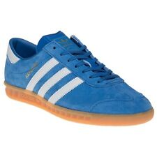 New Mens adidas Blue Hamburg Suede Trainers Retro Lace Up