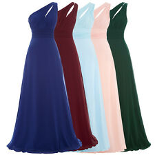 Long Chiffon Bridesmaids Wedding Gown Evening Cocktail Party Dress One Shoulder