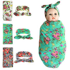 Newborn Infant Baby Floral Swaddle Wrap Swaddling Sleeping Bag Blanket Headband