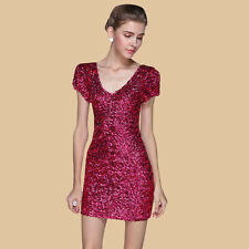 Lady Sequin Mini Dress Stretchy V Neck Sexy Bodycon Glitter Party Ball Dress Red