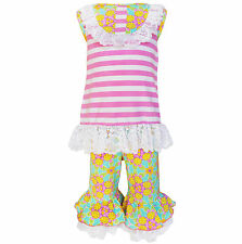 AnnLoren Girls Boutique Springtime Stripes and Floral Outfit sz 12/18 mo-9/10yrs