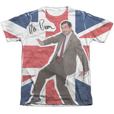Mr Bean Flag (Front Back Print) Mens Sublimation Poly Cotton Shirt White