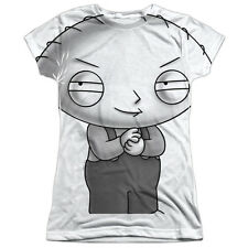 The Family Guy Stewie Head Juniors Sublimation Polyester Shirt White