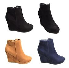 Womens Ladies Wedges Ankle Boots Faux Suede Block High Heel Zip Up Smart Shoes