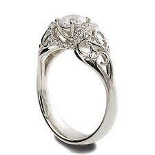 White Gold and Diamond Engagement Ring, 14k White Gold Engagement Halo Ring