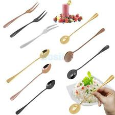 1pc Stainless Steel Spoon/ Fruit Fork Cocktail Dessert Coffee Tea Ice Cream PICK
