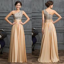 Long Sequin One Shoulder Chiffon Evening Maxi Gown Dress Prom Ball Party UK 6-20