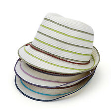 Packable Wide Brim Fedora Style Woven tape Straw fashion Sun Hat