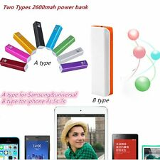 Portable External USB 2600mAh Power Bank Battery Charger for iphone Phone White