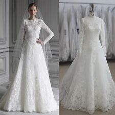 Womens Simple White Vintage Long Sleeves Lace Bridal Gown Wedding Dress.HANDMADE