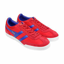 Gola Super Harrier Mens Red Suede & Nylon Trainers Lace Up Shoes