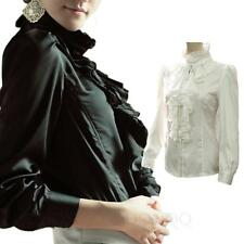 Button Down Shirt Glamour Career Blouse Victorian Frilly Top US sz 0-10
