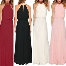 Sexy Women Sleeveless Chiffon Long Dress Formal Gown Boho Maxi Evening Party New
