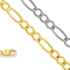 10k Solid Yellow 4.5mm Gold Figaro Chain Bracelet Necklace