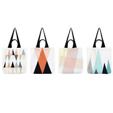 Colored Graphic Triangle Canvas Tote Convertible Shoulder Bag Large White
