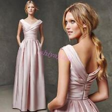 Chic Womens V Neck Ruffled Evening Dress Womens Formal Prom Cocktail Long Gown
