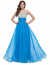 CUSTOM SIZE Blue NEW Long cocktail wedding evening gown Prom Bridesmaids Dress