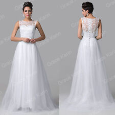 CUSTOM SIZE White Long Formal Wedding Evening Ballgown Party Cocktail Prom Dress