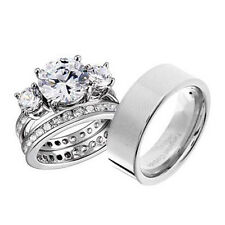 His and Hers Wedding Rings 3 pcs Engagement CZ Sterling Silver Titanium Set BN