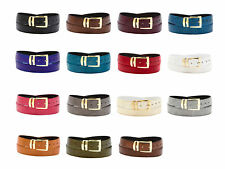 Men's Bonded Leather Belt in Solid Colors LIZARD Skin Pattern Gold-Tone Buckle