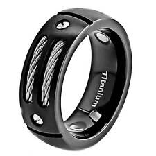 8mm Dome Top Satin Black Titanium Ring Steel Cable & Nut Head inlay Accent Band