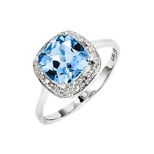 925 Sterling Silver Blue Topaz & Diamond Halo Soliatire Cushion Ring - 2.232cttw