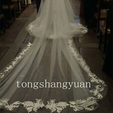 Lace Applique Wedding Veils 1 T White Ivory Cathedral Bridal Veil With Comb New