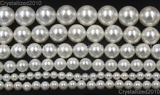 """Natural White Oyster Shell Pearls Round Beads 5mm 6mm 8mm 10mm 12mm 14mm 15.5"""""""