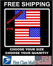 2 REFLECTIVE American Flag USA mirrored Vinyl Decals for Boat truck car sticker