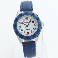 Kids Casual Leather Strap Girl Learn Time Tutor Student Quartz Wristwatch U48