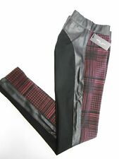 ROMEO & JULIET COUTURE HOUNDSTOOTH KNIT/FAUX LEATHER TRIM LEGGING OXBLOD-BLK B16