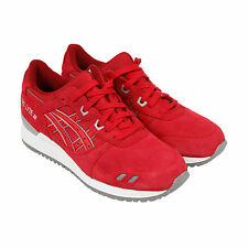 Asics Gel Lyte III Mens Red Mesh & Suede Athletic Lace Up Athletic Shoes