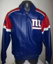 NEW YORK GIANTS Faux Leather Jacket Sewn GIANTS Logo LARGE Blue Red
