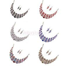 Crystal Charms Statement Choker Necklace and Earrings Sets Women Costume Jewelry