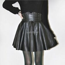 Autumn Winter Women Fashion Punk Style Rivet Synthetic Leather A-Line WST01
