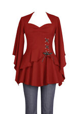 Plus Size Red Gothic Kimono Sleeve Sweetheart Side Corset Top  1X 2X