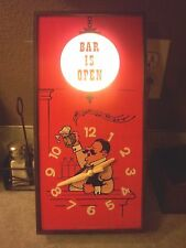 """Vintage! """"Bar is Open"""" Lighted Wall Clock Spartus Brand Bartender Beer Man Cave!"""
