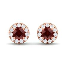 Red Garnet GH SI Diamond Gemstone Womens Halo Stud Earring 18K Rose Gold