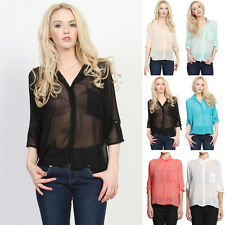 TheMogan Sheer See-Through Oversized Crepe Chiffon Blouse 3/4 Sleeve Button Top