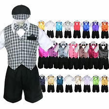 7pc Baby Boy & Toddler Formal Vest Shorts Check Suit Extra Vest Bow Tie Set S-4T