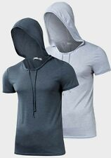 New Fourth Mens Scoop Neck Short Sleeve Hooded Casual T-Shirt Tops Tee Shirts