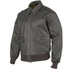 CLASSIC MILITARY LEATHER A2 ARMY MENS SHORT BOMBER FLIGHT JACKET BROWN S-3XL