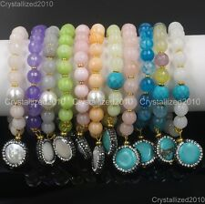 Natural Gemstone 8mm Faceted Round Beads Handmade Stretchy Charm Bracelets Gold