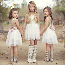 Baby Girl Summer Layered Dress Kid Sleeveless Hollow Out Back Bow Sequined Dress