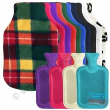 2litre HOT WATER BOTTLE with COVER = CHOOSE color fabric knitted fleece faux fur