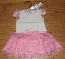 FAO Schwarz White Sleeveless Top Pink Ruffled/Layered Tulle Skirt Summer Dress