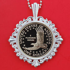 US 2000 ~ 2008 Native American Sacagawea $ Proof Coin Sterling Silver Necklace